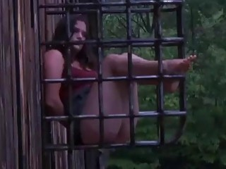 Caged babe Charlotte Vale doggy styled by dungeon master BDSM