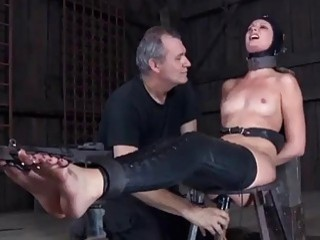 Restrained slave babe Hailey Young molested by master BDSM porn