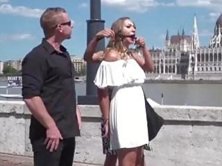 Slutty bitch disgraced and humiliated in public by BDSM master