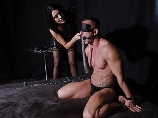 Femdom mistress keeps facesitting her slave and molesting him BDSM