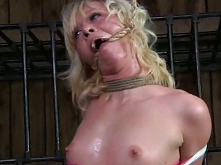 Tied up blonde chick toyed by creepy master BDSM porn
