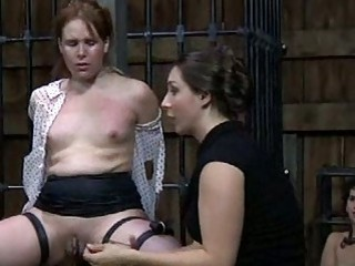 Lezdom mistress likes to whip her deviant submissive slave BDSM