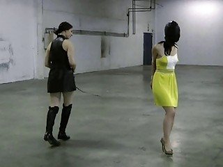 Lesbian mistress plays with her hooded slave Crystal Frost BDSM