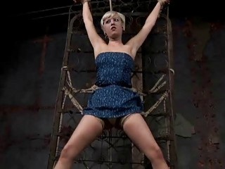 Blonde hot girl in bondage action with master BDSM porn