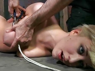 Nasty woman got her giant tits tortured hard BDSM movie