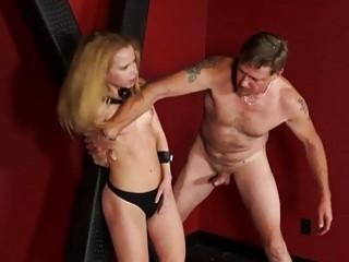 Seducing blonde is tied up and fucked in hardcore manner