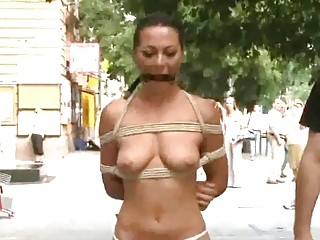 Shameless slut humiliated and dominated in public by master BDSM
