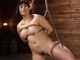 After getting tied up she gets her titties slapped hard