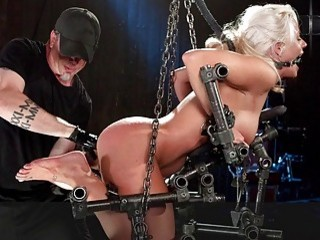 Blondie chick with small titties gets spanked hard by master