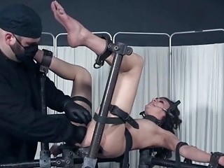 Babe strips for the doctor and gets pussy tortured hard