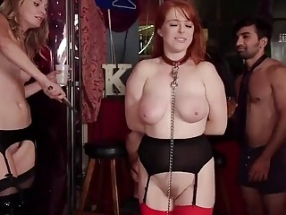 Redhead is bent over and fucked hard by hung stud