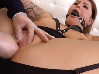 Lesbian spreads her pussy and gets fingered hard by dom