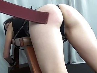 Short haired slave is whipped before forced to suck cock