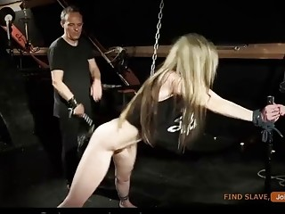 Bondage with whipping and sex for a petite blonde chick