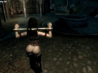 3D bondage for a babe with long attractive black hair