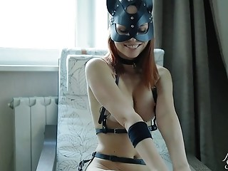 Filthy amateur in sluty outfit enjoys BDSM and fucking hard