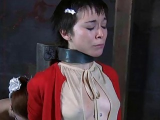 Chained little slut gets humiliated by lezdom mistress BDSM porn