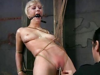 Blonde woman got her pussy lips destroyed bondage BDSM movie