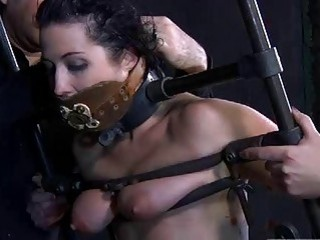 Slave chick is in real pain while tied up BDSM