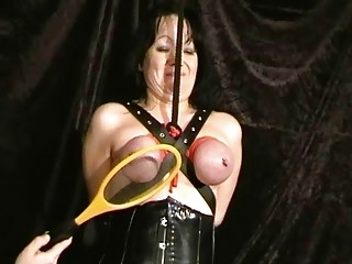Extreme mature slave girls hooded has breast bondage session BDSM