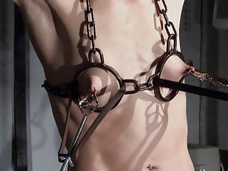 Flat chested cage slut released to receive tits torture BDSM
