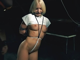Tiny blondiie hung and then gets punished by her master
