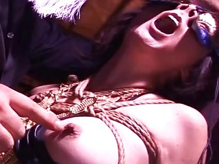 Bound submissive Asian bitch gets her hard nipples pinched harshly