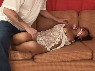 Masked men bounds and gags stunning Asian girl with force