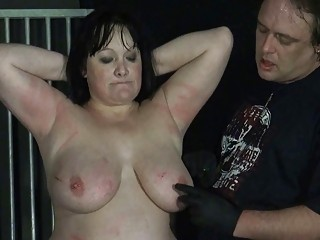 BBW brunette slave slut cries as she gets extremely punished