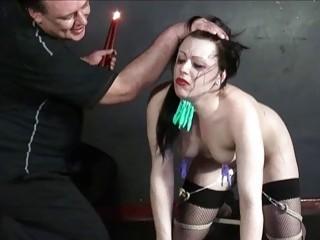 Alluring bitch has to eat like a dog in bondage