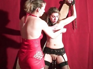 Adventurous blonde chick in lingerie has cruel submissive BDSM sex