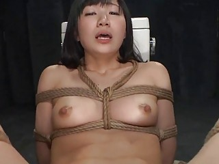 Bound Japanese whore face fucked and dicked on toilet BDSM