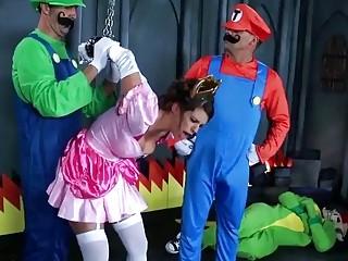 Slutty Brooklyn Chase gets dominated by Luigi and Mario BDSM
