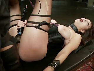 Hot slave with big natural tits in BDSM training time