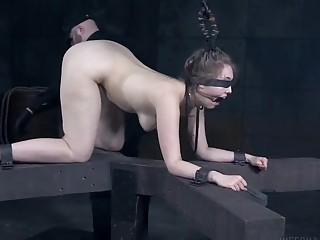Bondage slave Electra Rayne toyed by perverted master BDSM porn