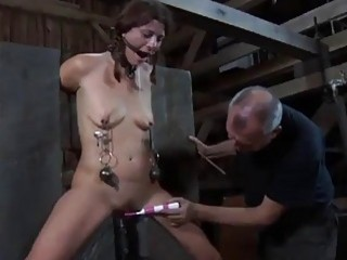 Gagged and bound slut Cici Rhodes toyed by master BDSM