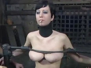 Caged bitch Cherry Torn gets caged and pussy tortured