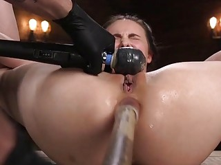 Bound slave Casey Calvert ass fucked with a dildo BDSM