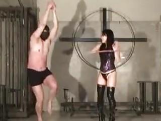 Asian mistress whips her tied up slave BDSM fetish porn