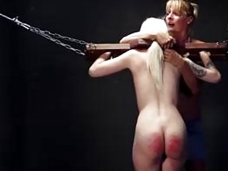 Lezdom babes get their butts red from hard spanking BDSM