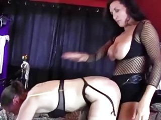BDSM lezdom slut drills her lesbian slave with a strapon