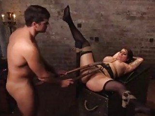 Chubby slave babe pussy pounded before toying BDSM fetish porn