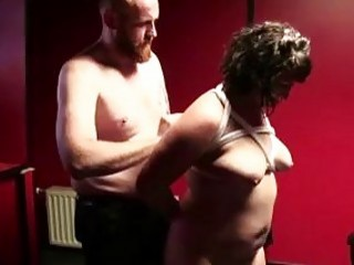 Fat submissive slut gives head to her BDSM sex master