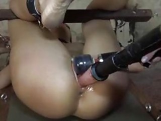 BDSM bound sub gal destroyed hard by a fuck machine