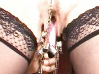 Mature slave woman got her pussy lips tortured BDSM movie