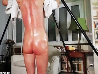 Big booty chick has her back whipped by her owner