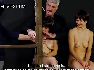 Babes with small titties get their nips tortured by dom