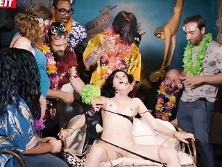 Babe fucked by group of horny hung hippie stud wankers