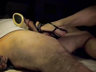 Man gets his cock tied up and teased by mistress
