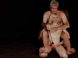 Skinny babe with small titties gets pussy whipped very hard